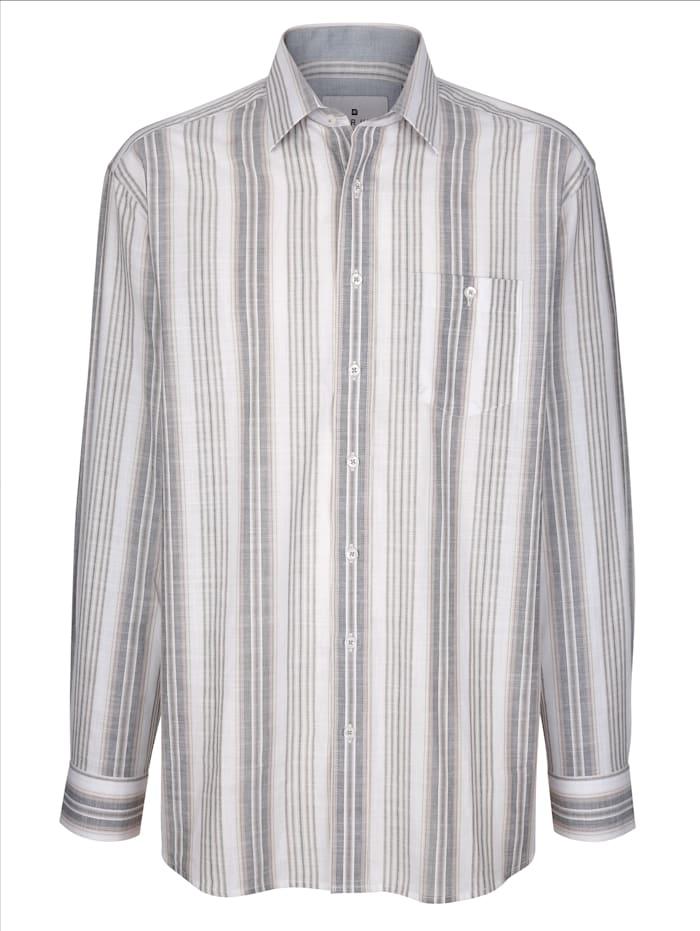 Roger Kent Hemd aus reiner Baumwolle, Weiß/Grau