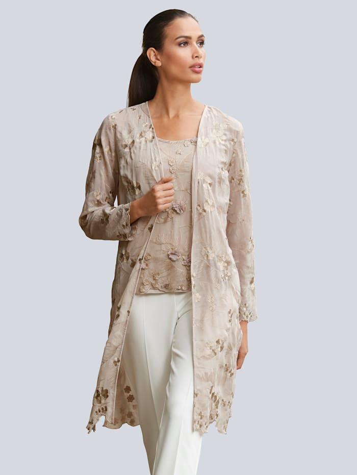 Alba Moda Manteau en tissu léger rebrodé de fleurs, Taupe