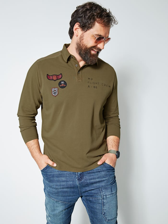Men Plus Langarmshirt oil wash, Khaki