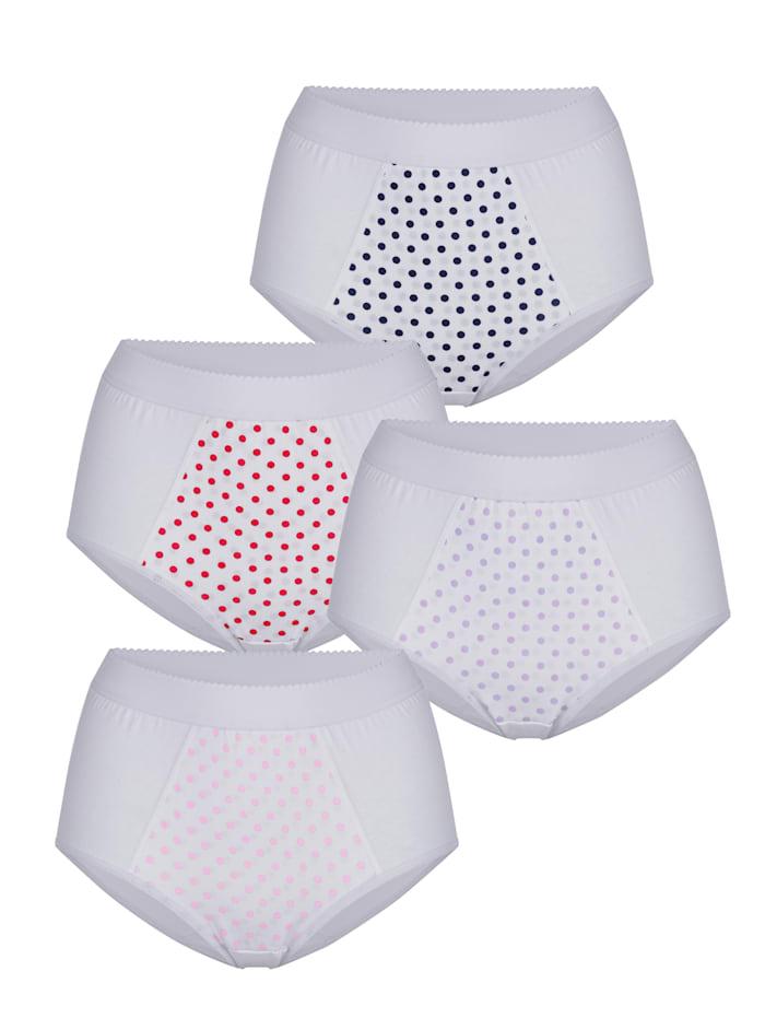 Harmony Midjetrosor i 4-pack – håller in magen, Röd/Rosa/Marinblå/Syren