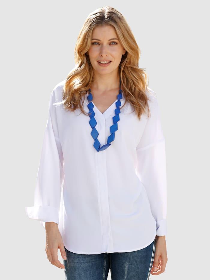 Laura Kent Bluse mit verdeckter Knopfleiste, Weiß