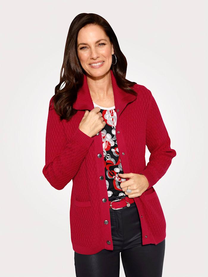 MONA Strickjacke aus reiner Baumwolle, Rot