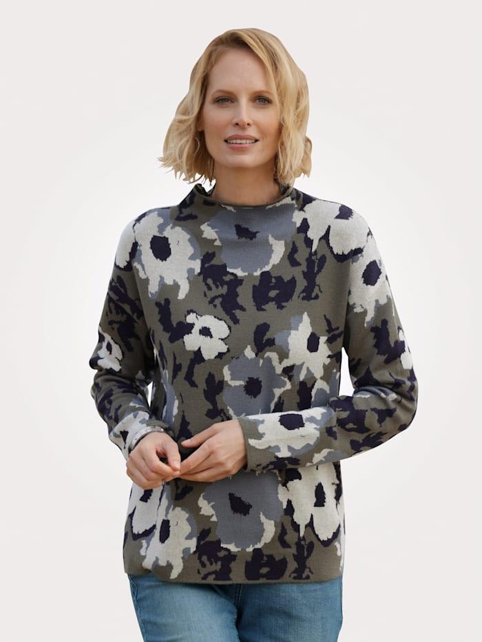 MONA Pullover aus hochwertigem Jacquard-Strick, Khaki/Marineblau/Hellblau