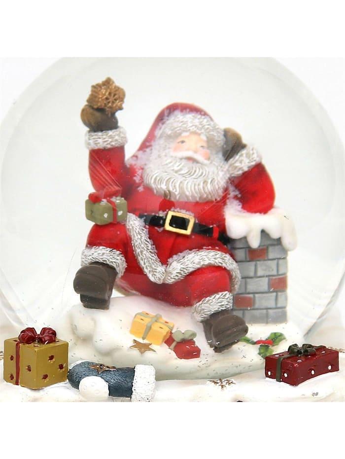 Sigro Schneekugel Santa auf Schornstein, Bunt