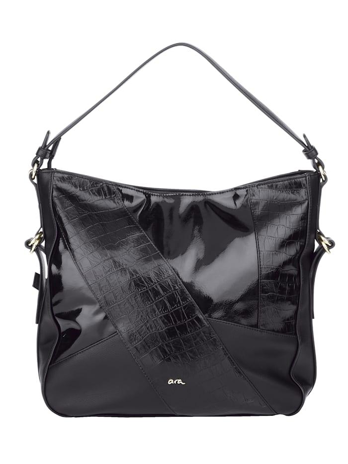 Ara Shopper met mooie animalprint, zwart/krokolook
