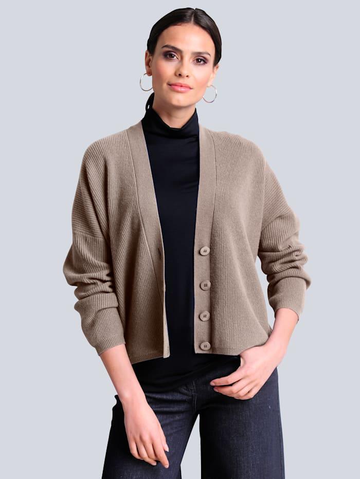 Alba Moda Strickjacke aus hochwertiger reiner Kaschmirqualität, Taupe