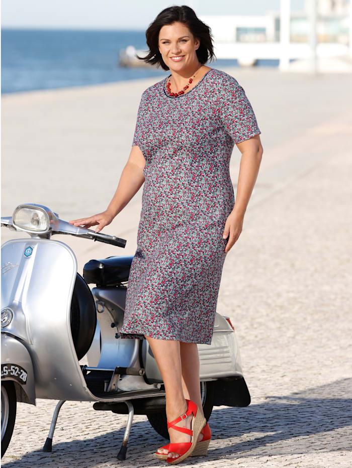m. collection Kleid mit Häkelspitze am Ausschnitt, Marineblau/Rot/Grün