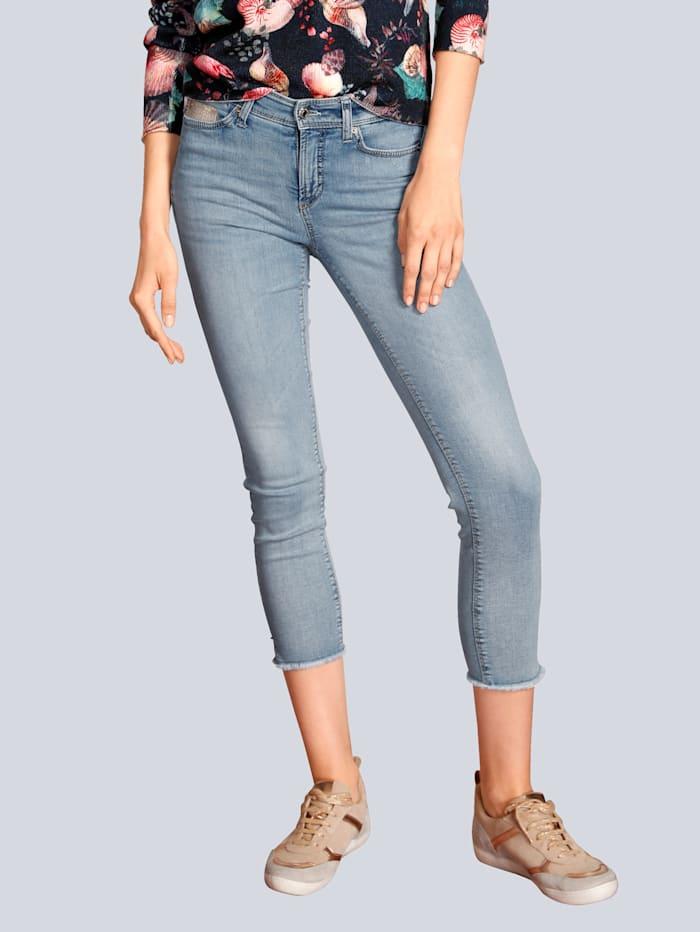 CAMBIO Jeans mit Fransen am Saum, Blue stone