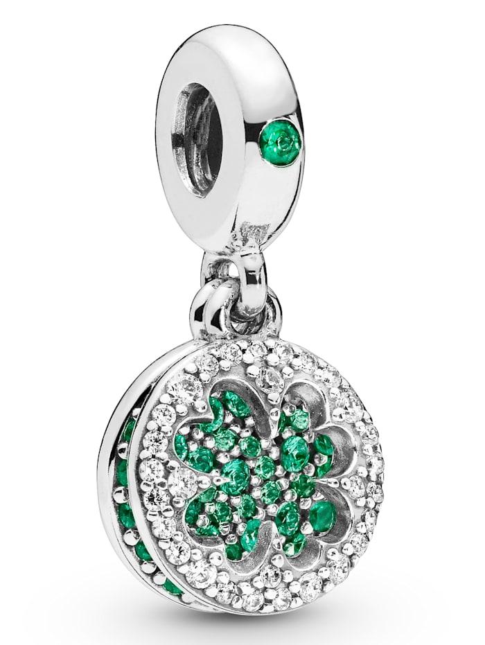 Pandora Charm-Anhänger -Blendendes Kleeblatt-, Silberfarben