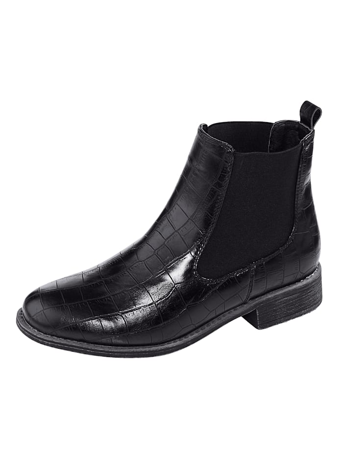 Liva Loop Chelsea Boot in edler Kroko-Optik, Schwarz