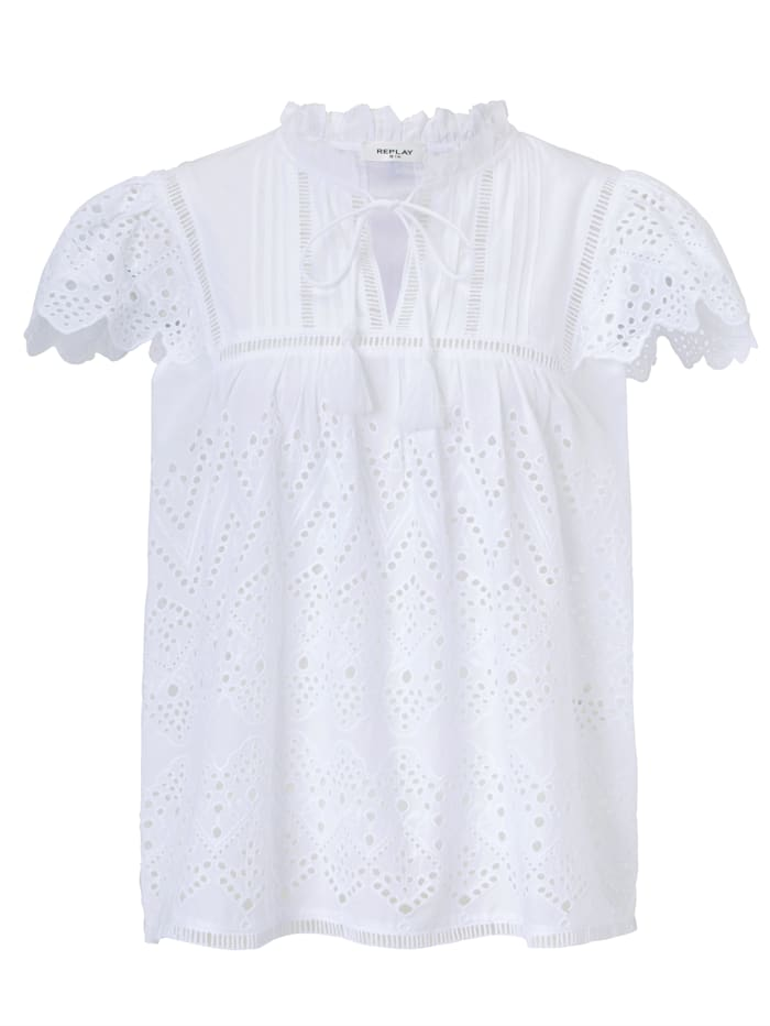 REPLAY Bluse, Off-white