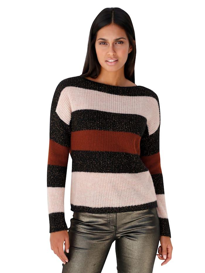 Pullover mit Streifenmuster und Glanzgarn