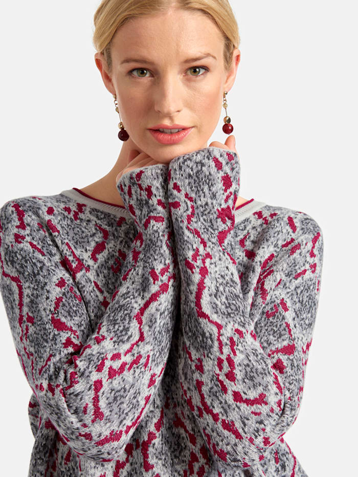 Jacquard-Pullover mit Snake-Print