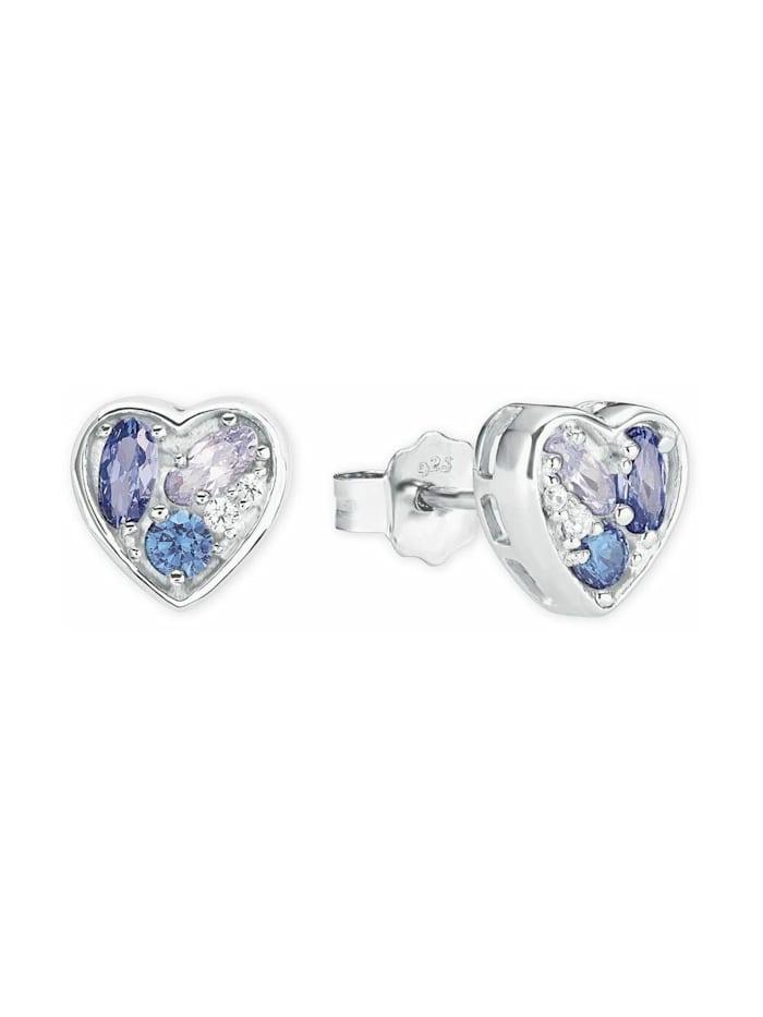 amor Ohrstecker für Damen, Sterling Silber 925, Zirkonia, Blau