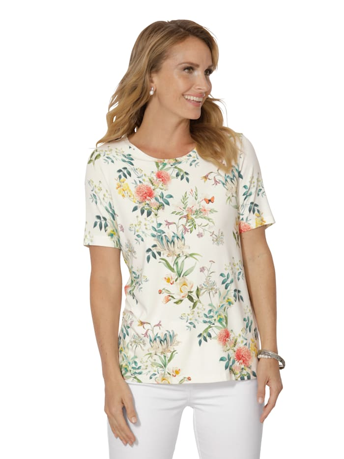 MONA Shirt mit floralem Dessin, Ecru/Multicolor