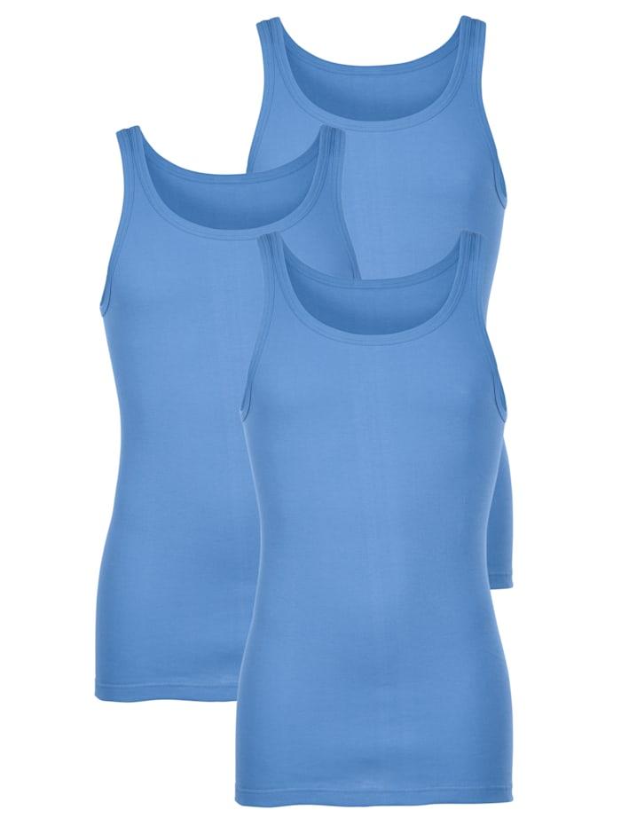 HERMKO Unterhemden im 3er-Pack in bewährter Markenqualität, Hellblau