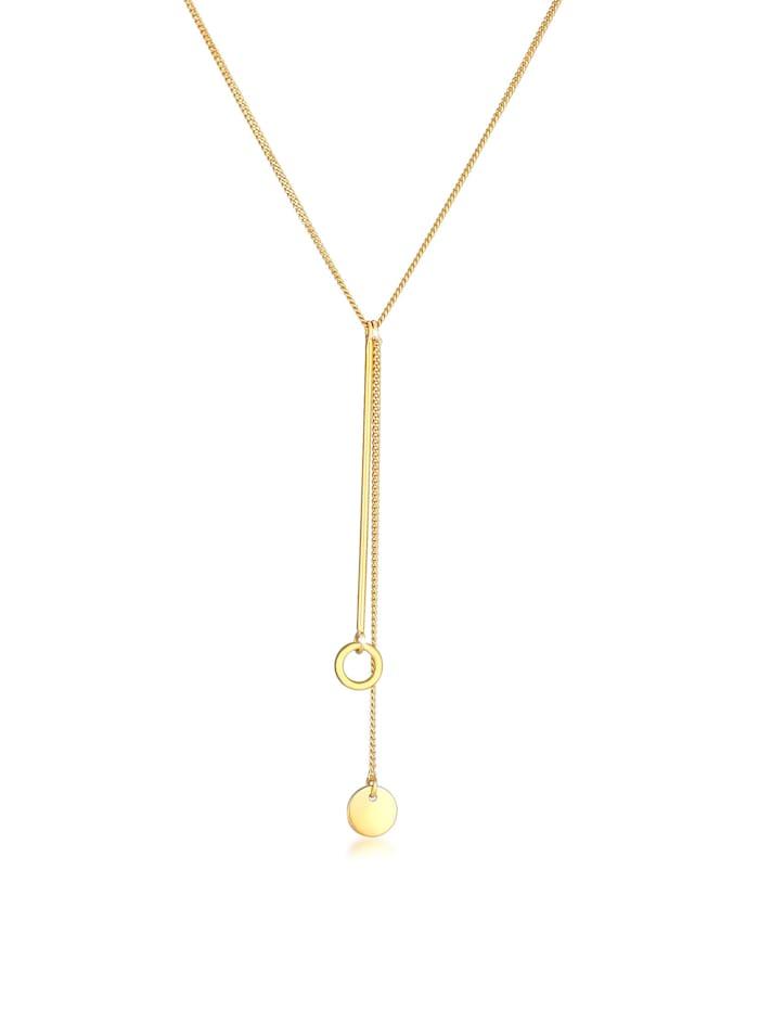 Elli Halskette Y-Kette Kreis Plättchen Geo Trend Boho 925 Silber, Gold