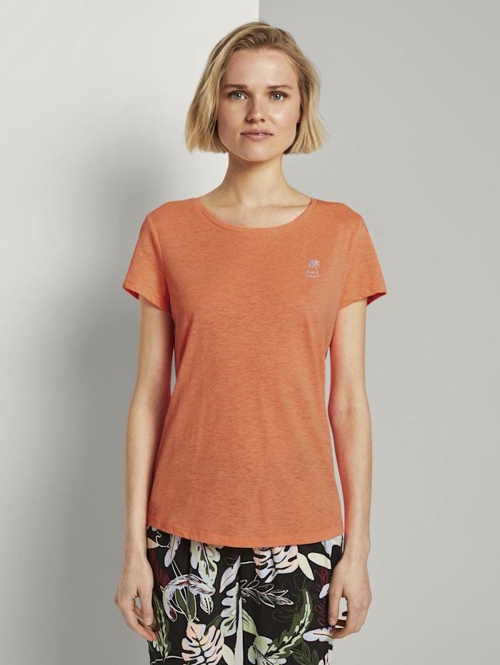 Tom Tailor Denim T-Shirt mit platziertem Print, dark papaya neon orange