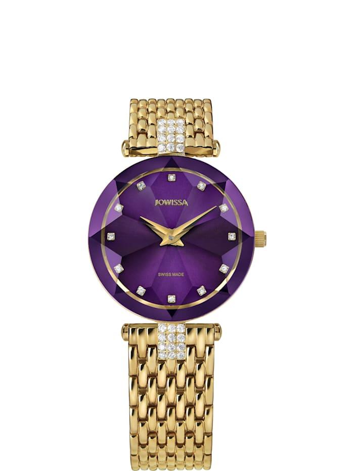 Jowissa Quarzuhr Facet Strass Swiss Ladies Watch, violettgold