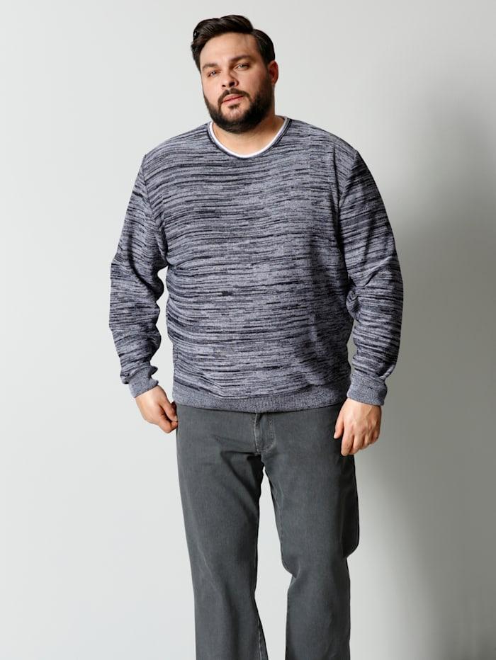 Men Plus Pullover in melierter Optik, Marineblau/Weiß