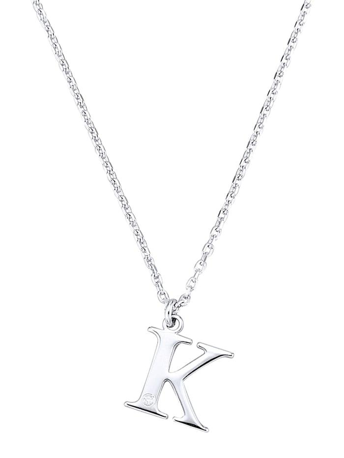 Collier Letter K met diamant, Zilverkleur