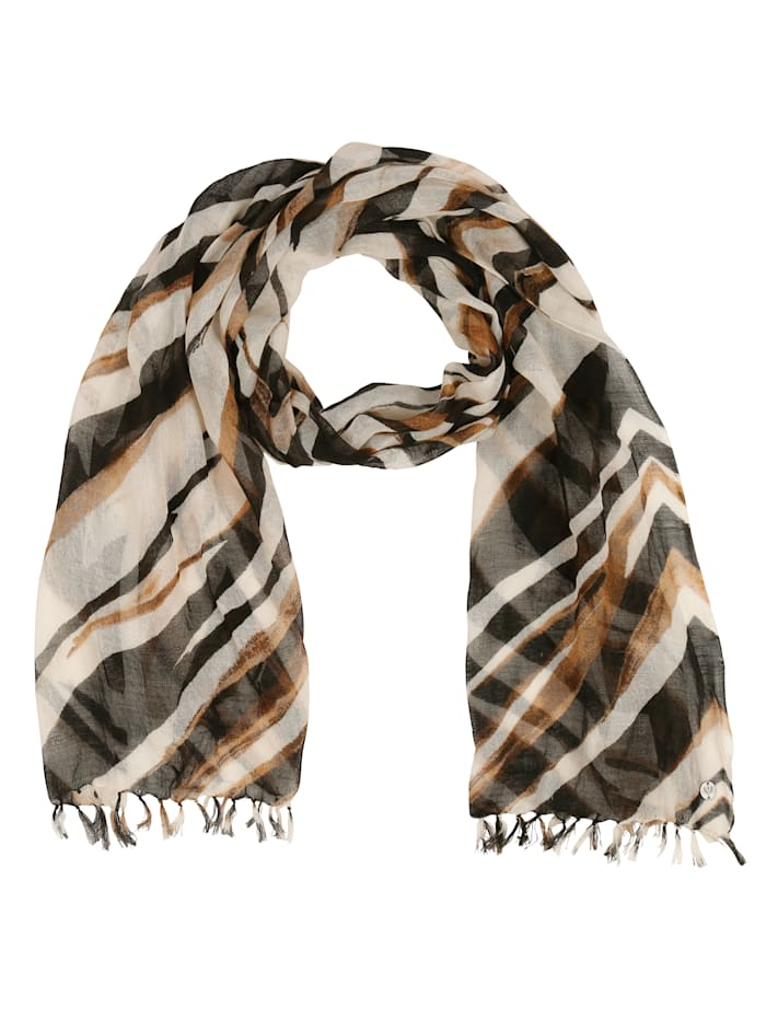 Fraas Scarf, Ecru/Black/Brown