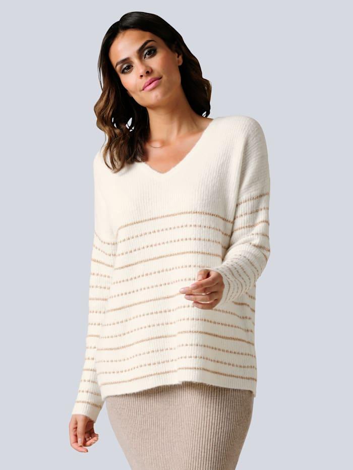 Alba Moda Pullover im Streifen-Dessin, Off-white/Goldfarben
