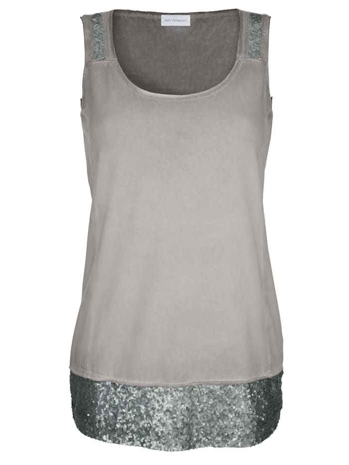 AMY VERMONT Top mit Pailletten, Grau