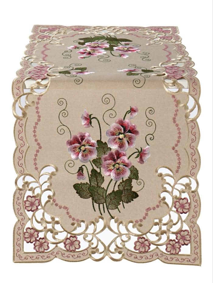 Webschatz Tischwäsche 'Rebeka', Rosé/Creme-Weiß