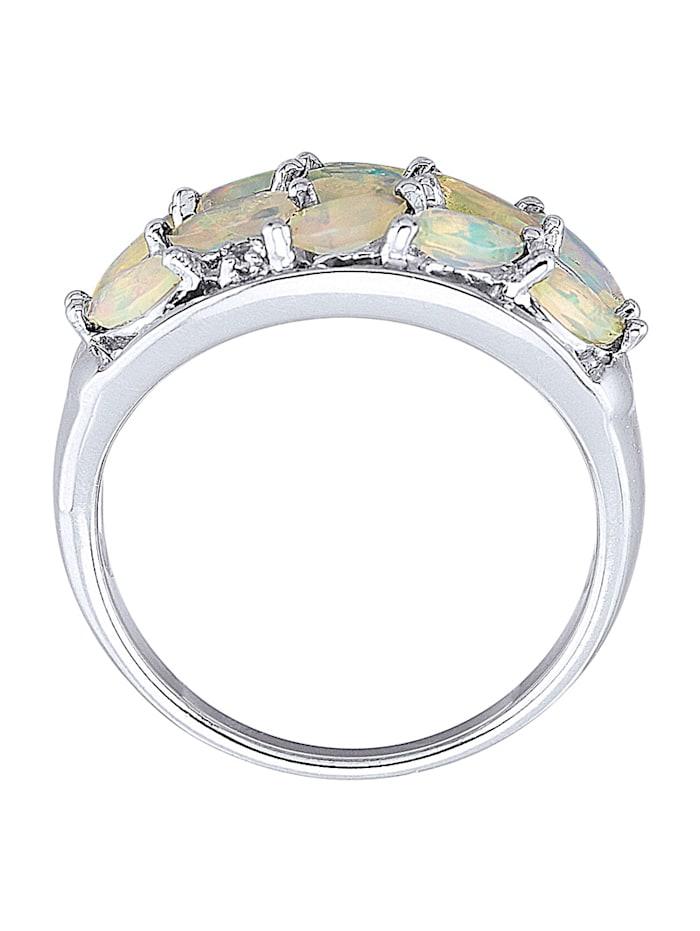 Damenring mit Opalen und Weißtopasen