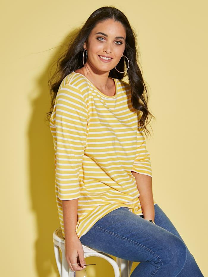 MIAMODA Shirt mit Knöpfen, Gelb/Weiß