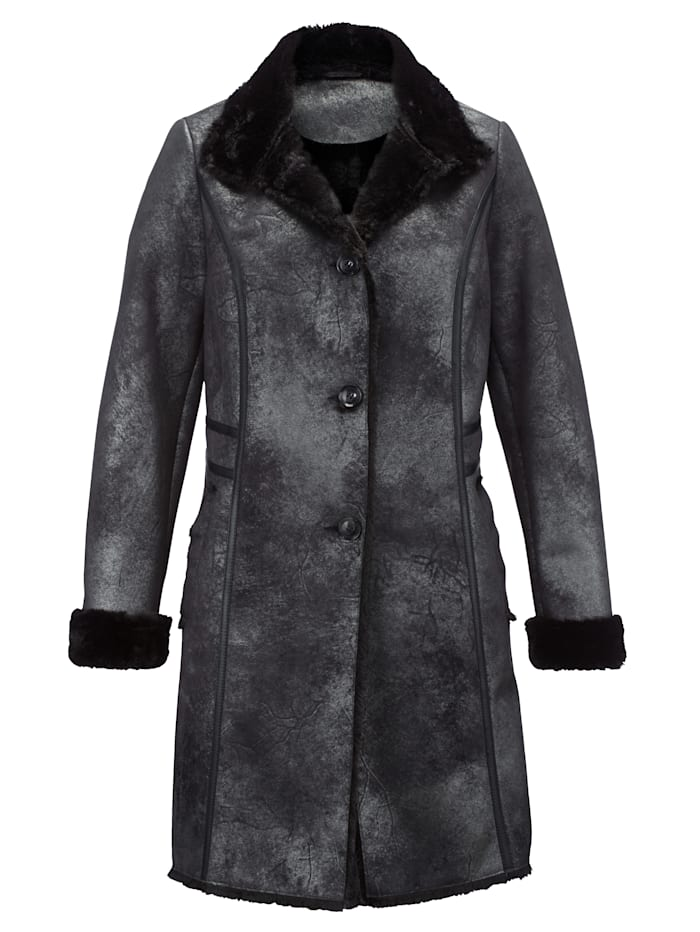 Laura Kent Kabát v pěkném lesklém vzhledu, Černá