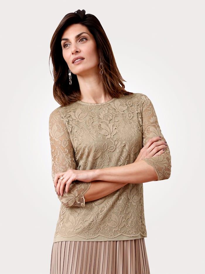 MONA T-shirt en dentelle extensible, Sable
