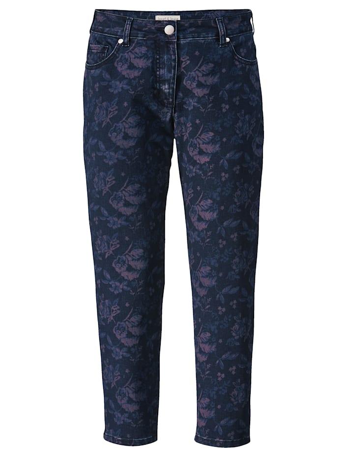 Jeans met bloemendessin rondom