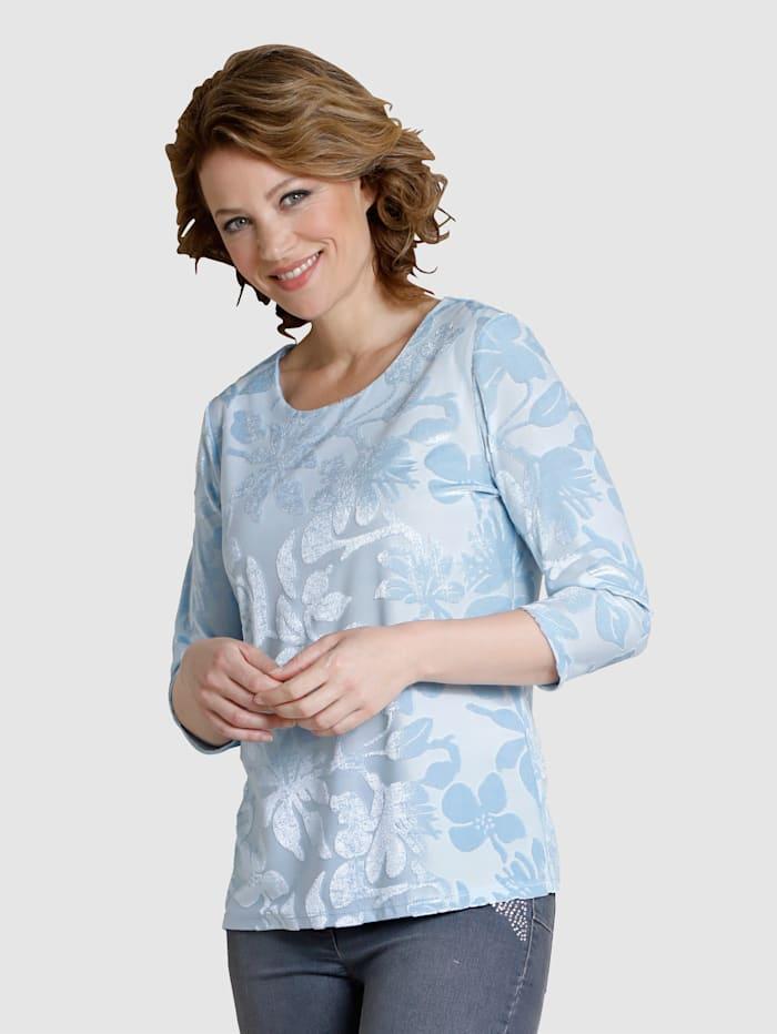 Dress In Shirt im Materialmix, Hellblau