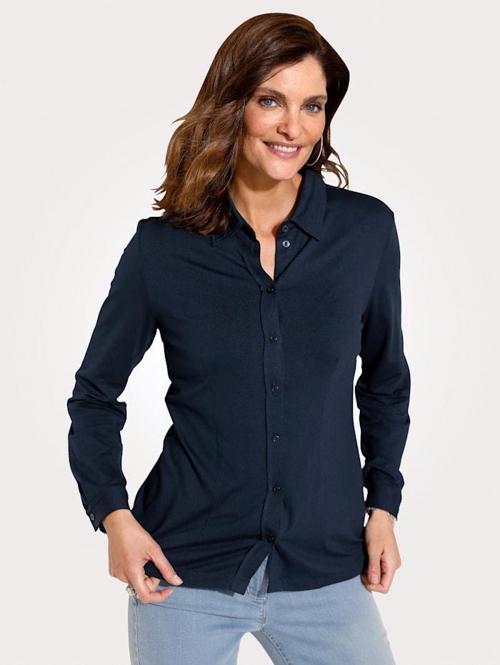 MONA Jersey blouse met aangestikte knoopsluiting, Marine