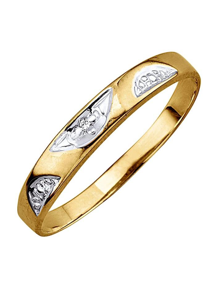 KLiNGEL Damesring met diamant, Geelgoudkleur