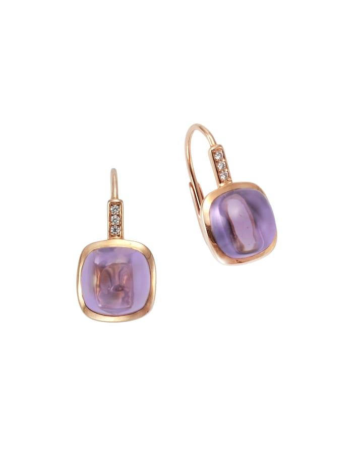 Orolino Ohrhänger 585/- Rotgold Amethyst Brillant 585/- Gold Amethyst lila 1,8cm Glänzend 0,03ct 585/- Gold, rot