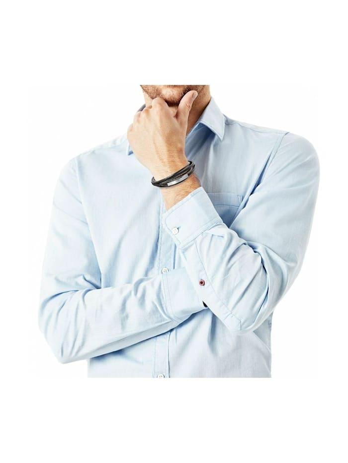 Leder ID-Armband für Herren, Edelstahl und Leder