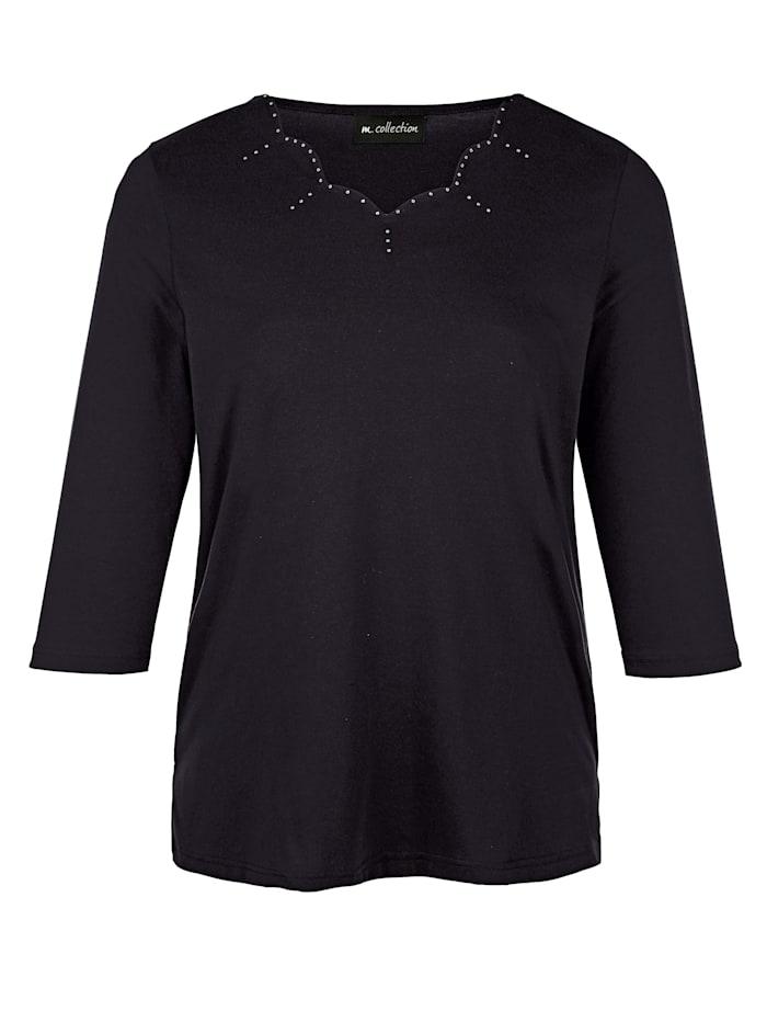m. collection Shirt mit modischer Ausschnittvariante, Schwarz
