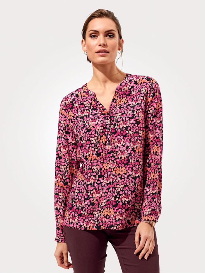 MONA Schlupfbluse mit grafischem Muster, Pink/Orange/Schwarz