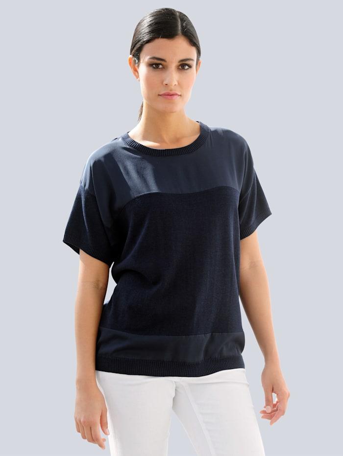 Alba Moda Pullover im effektvollen Materialmix, Marineblau