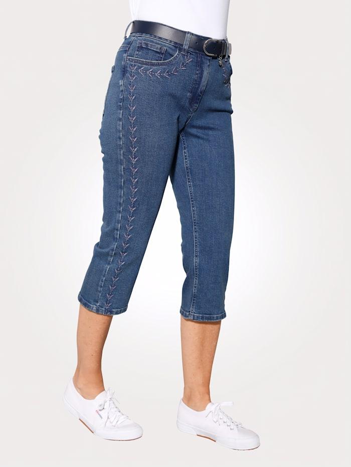 MONA Corsaire en jean à broderie de coloris harmonieux, Bleu foncé