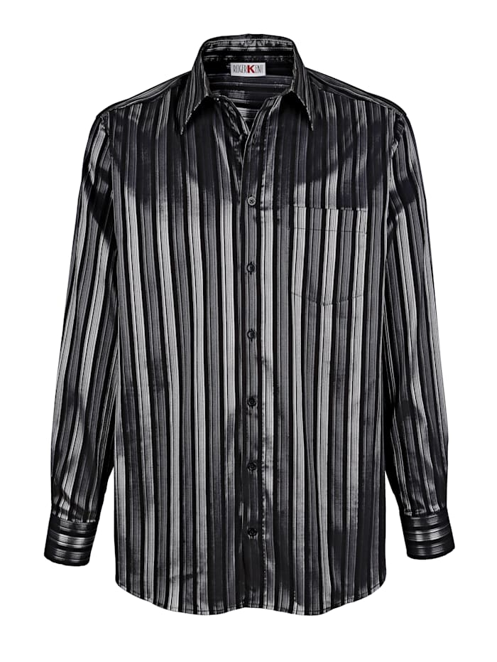 Roger Kent Chemise de soirée à rayures brillantes, Coloris argent/Noir