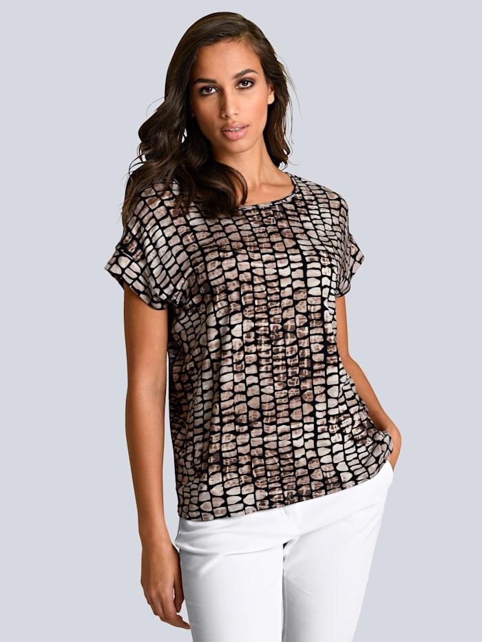 Alba Moda Shirt met abstracte animalprint rondom, Bruin/Beige/Zwart