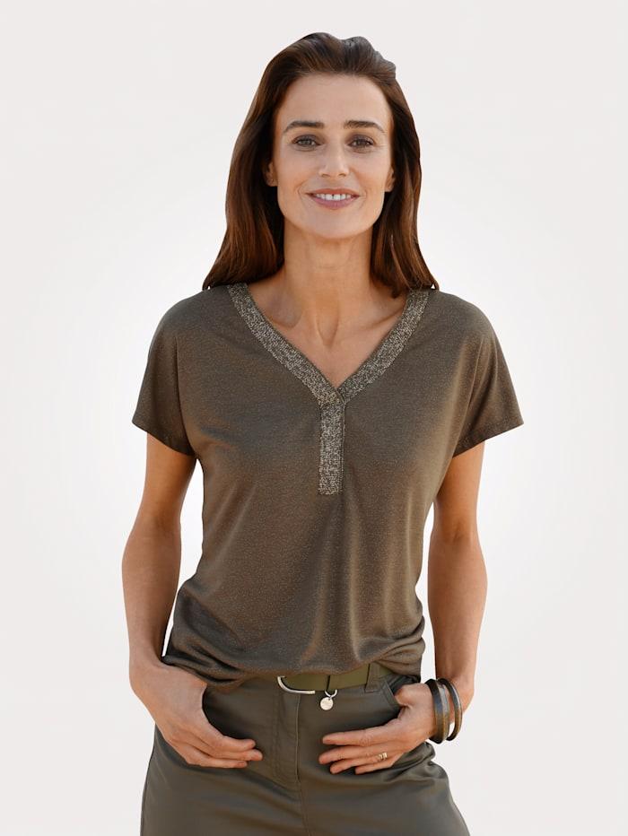 MONA Shirt mit Glanzgarn, Oliv/Goldfarben