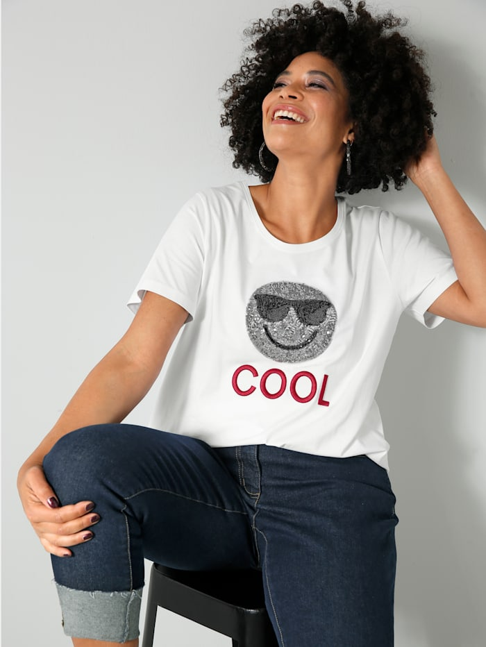 Angel of Style Shirt mit Pailletten-Smiley und Stickerei, Weiß/Rot/Silberfarben