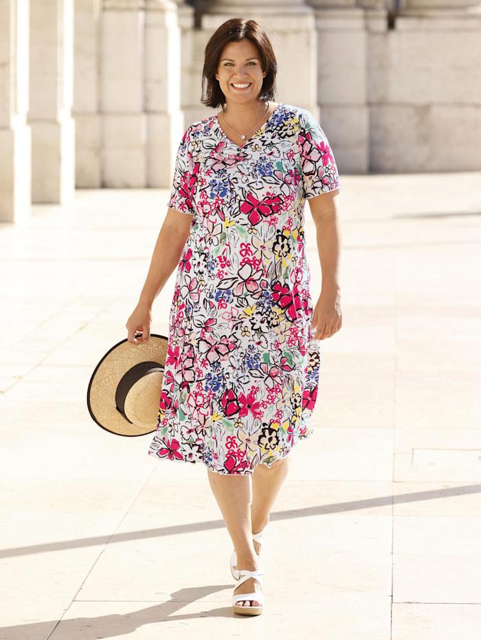 m. collection Kleid in leicht ausgestellter Form, Weiß/Pink/Royalblau