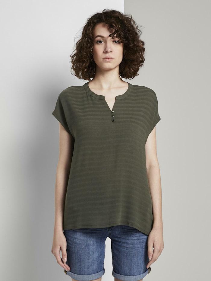 Tom Tailor T-Shirt mit Henley-Ausschnitt im Materialmix, Woodland Green