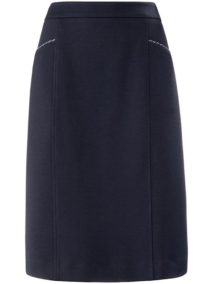 Basler Bleistiftrock aus unifarbenem Jersey-Piqué, night blue